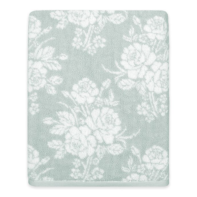 Alternate image 1 for Cabbage Rose Bath Towel in Green