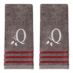 """Holly Monogrammed Letter """"Q"""" Hand Towel in Grey (Set of 2)"""