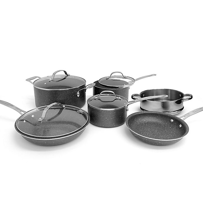 Alternate image 1 for Granitestone Diamond Titanium Nonstick Aluminum 10-Piece Cookware Set in Black