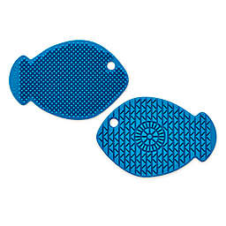 Silicone 2-Sided Scrubber Brush in Blue Fish