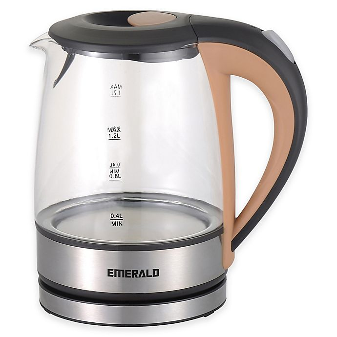 Alternate image 1 for Emerald™ 1.2 Liter Compact Glass Electric Kettle with Beige Handle
