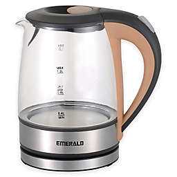 Emerald™ 1.2 Liter Compact Glass Electric Kettle with Beige Handle