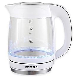 Emerald 1.8 Liter Glass White Electric Kettle