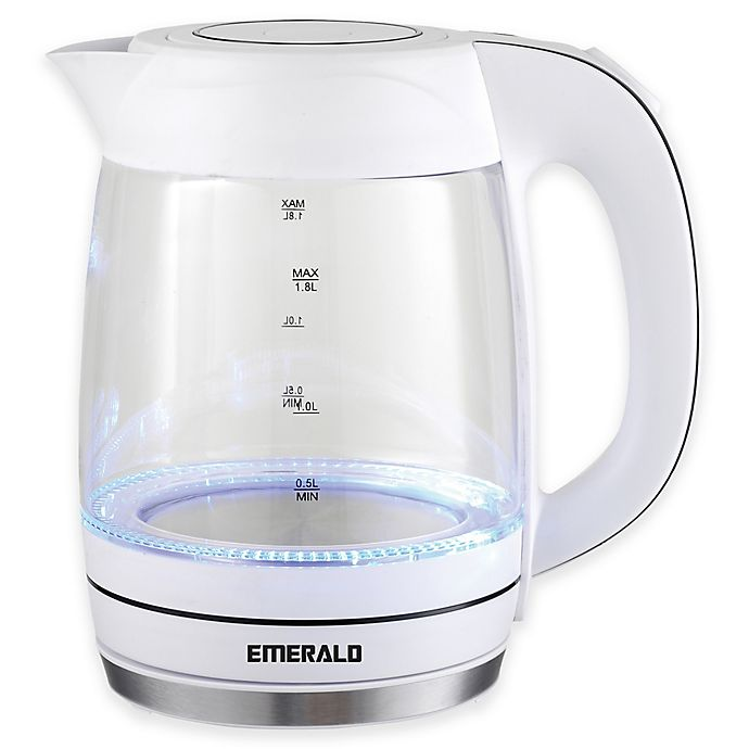 Alternate image 1 for Emerald 1.8 Liter Glass White Electric Kettle