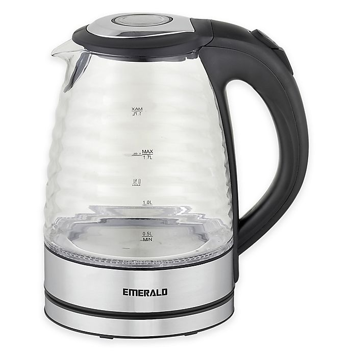 Alternate image 1 for Emerald™ 1.7 Liter Glass Electric Kettle with Ridge Design