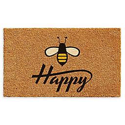 """Calloway Mills Bee Happy 17"""" x 29"""" Coir Door Mat in Natural/Black"""