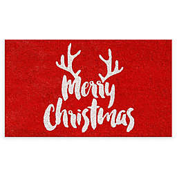 "Calloway Mills Christmas Antlers 17"" x 29"" Coir Door Mat in Red/White"