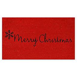 """Calloway Mills Merry Christmas 17"""" x 29"""" Coir Door Mat in Red/Black"""