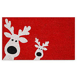 "Calloway Mills Peeking Reindeer 17"" x 29"" Coir Door Mat in Red/White"