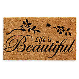 "Calloway Mills Life is Beautiful 17"" x 29"" Coir Door Mat in Natural/Black"