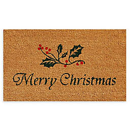"Calloway Mills Christmas Holly 17"" x 29"" Coir Door Mat in Natural/Green"