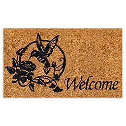 """Calloway Mills Hummingbird Welcome 17"""" x 29"""" Coir Door Mat in Natural/Black"""