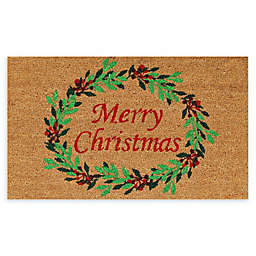 "Calloway Mills Christmas Wreath 17"" x 29"" Coir Door Mat in Natural/Red"
