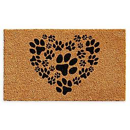 "Calloway Mills Heart Paws 24"" x 36"" Coir Door Mat in Natural/Black"