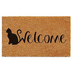 """Calloway Mills Feline Welcome 17"""" x 29"""" Coir Door Mat in Natural/Black"""