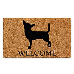 "Calloway Mills Chihuahua Welcome 24"" x 36"" Coir Door Mat in Natural/Black"