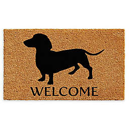 "Calloway Mills Dachshund Welcome 17"" x 29"" Coir Door Mat in Natural/Black"