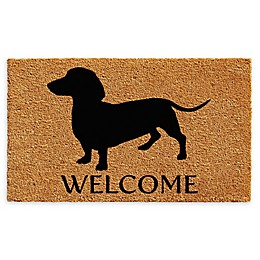 "Calloway Mills Dachshund Welcome 24"" x 36"" Coir Door Mat in Natural/Black"