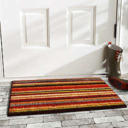 "Calloway Mills Pallisades Stripe 24"" x 36"" Coir Door Mat in Green/Black"