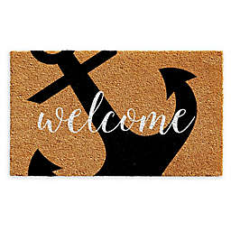 "Calloway Mills Anchor Welcome 17"" x 29"" Coir Door Mat in Natural/Black"