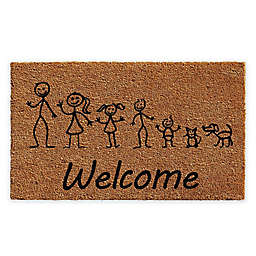 "Calloway Mills Stick Family 18"" x 30"" Coir Door Mat in Natural/Black"