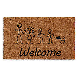 "Calloway Mills Sons and Dog Stick Family 24"" x 36"" Coir Door Mat in Natural/Black"