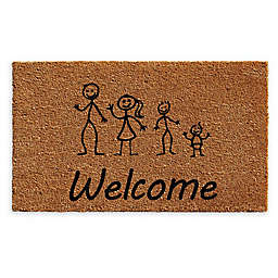 "Calloway Mills Son Baby Stick Family 24 x 36"" Coir Door Mat in Natural/Black"
