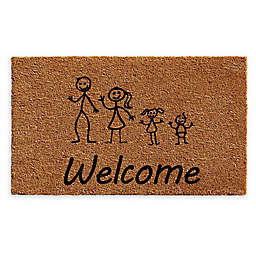 "Calloway Mills Daughter Baby Stick Family 24"" x 36"" Coir Door Mat in Natural/Black"