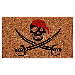 "Calloway Mills Pirate 17"" x 29"" Coir Door Mat in Natural/Red"