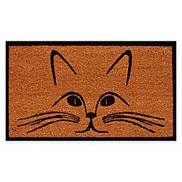 """Calloway Mills Purrfection 17"""" x 29"""" Coir Door Mat in Natural/Black"""