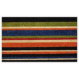 """Calloway Mills Triple Stripe 17"""" x 29"""" Multicolor Coir Door Mat"""