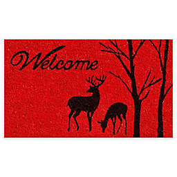 """Calloway Mills Winter Welcome 17"""" x 29"""" Coir Door Mat in Red/Black"""
