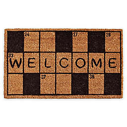 "Calloway Mills Crossword Welcome 17"" x 29"" Coir Door Mat in Black/Natural"