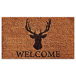 "Calloway Mills Deer Welcome 17"" x 29"" Coir Door Mat in Natural/Black"