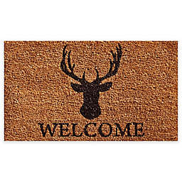 "Calloway Mills Deer Welcome 24"" x 36"" Coir Door Mat in Natural/Black"
