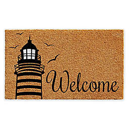 "Calloway Mills Lighthouse Welcome 17"" x 29"" Coir Door Mat in Natural/Black"