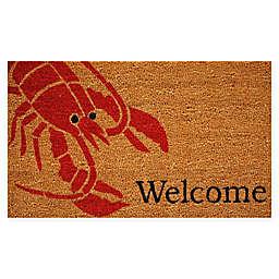 "Calloway Mills Lobster Welcome  17"" x 29"" Coir Door Mat in Natural/Red"