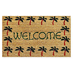 "Calloway Mills Palm Tree Border 17"" x 29"" Multicolor Coir Door mat"