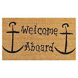 """Calloway Mills Welcome Aboard 17"""" x 29"""" Coir Door Mat in Natural/Black"""