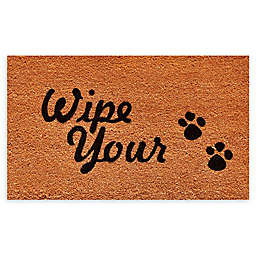 """Calloway Mills Wipe Your Paws 17"""" x 29"""" Coir Door Mat in Natural/Black"""