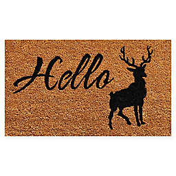 "Calloway Mills Elk Hello 17"" x 29"" Coir Door Mat in Natural/Black"
