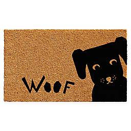 """Calloway Mills Woof 17"""" x 29"""" Coir Door Mat in Natural/Black"""