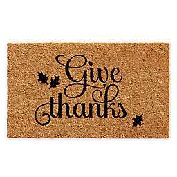 "Calloway Mills Give Thanks 17"" x 29"" Coir Door Mat in Black/Natural"