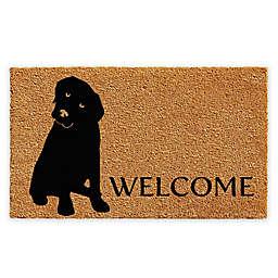 """Calloway Mills Labrador Welcome 24"""" x 36"""" Coir Door Mat in Natural/Black"""