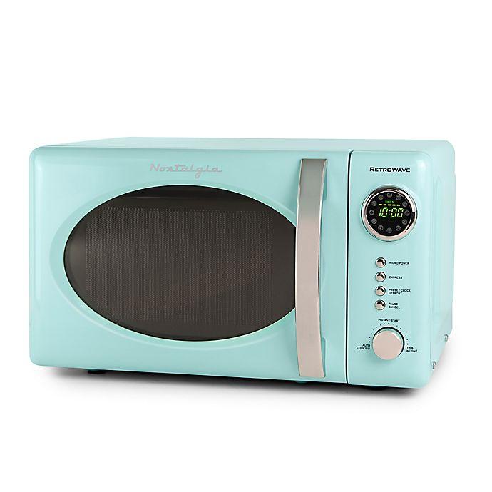 Alternate image 1 for Nostalgia Electrics 0.7 cu. ft. Microwave Oven in Aqua