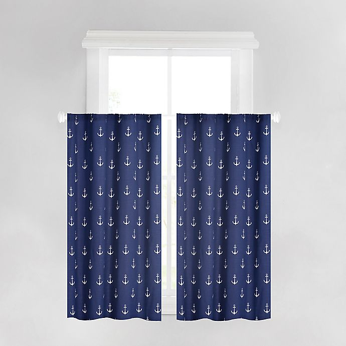 Alternate image 1 for Anchors Away 45-Inch Rod Pocket Window Curtains in Navy (Set of 2)
