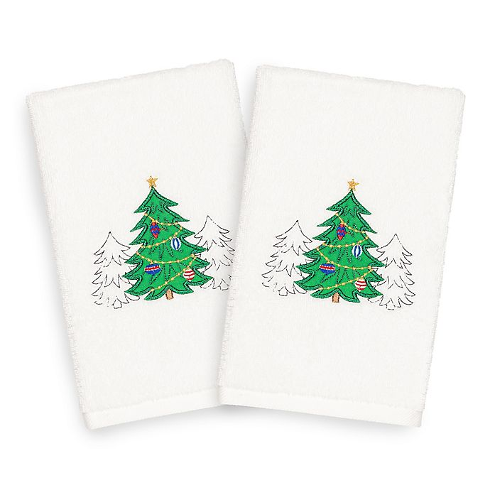 Alternate image 1 for Linum Home Christmas Three Trees Hand Towels in White (Set of 2)