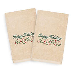 Linum Home Christmas Happy Holidays Hand Towels in Sand (Set of 2)