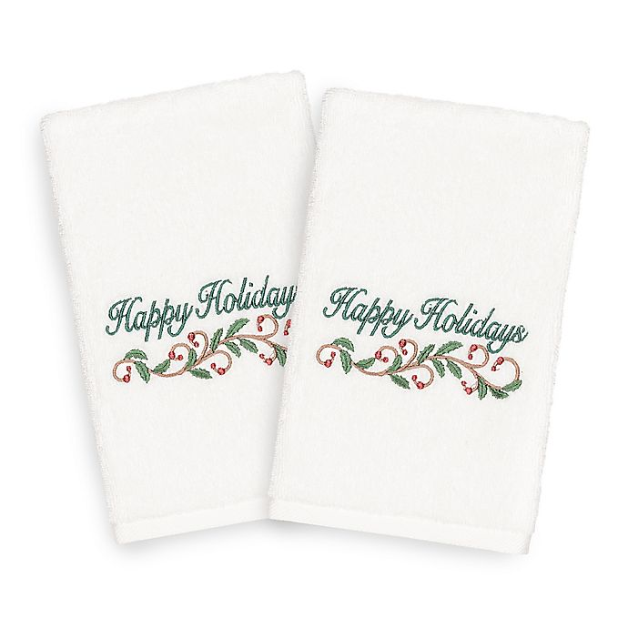 Alternate image 1 for Linum Home Christmas Happy Holidays Hand Towels in White (Set of 2)