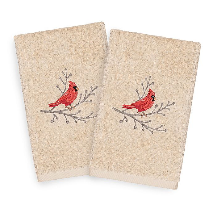 Alternate image 1 for Linum Home Christmas Cardinal Hand Towels in Sand (Set of 2)